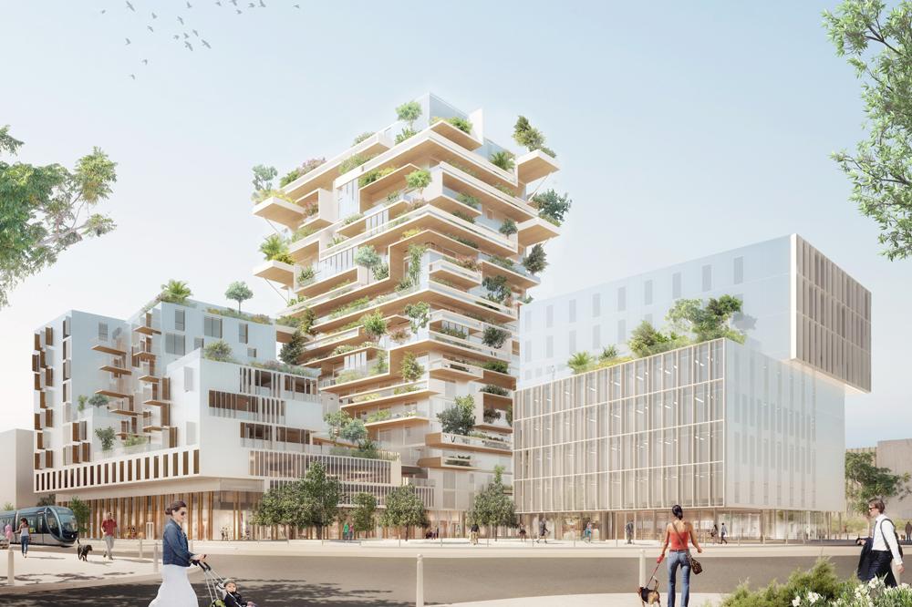 Le programme Hypérion prévoit une tour R+17 de 57 mètres de hauteur, un bloc en R+9 de logements et parkings et un bloc de R+7 de bu
